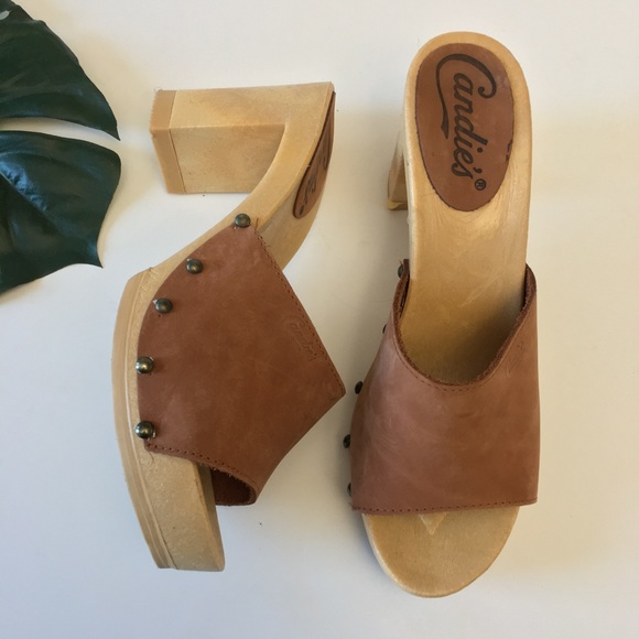 Vtg Candies Leather Wood Clog Heels Made In Italy